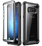 i-Blason Hülle Kompatibel für Samsung Galaxy Note 8 Handyhülle 360 Grad Case Transparent Schutzhülle Cover [Ares] mit eingebautem Displayschutz, Schw