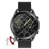 HQPCAHL Smartwatch Fitness Armband mit Bluetooth Anruf Temperaturmessung, Pulsmesser Blutdruck, Schrittzähler, Schlafüberwachung, IP67 Wasserdicht Fitness Uhr für iOS und Android,Metalic Black