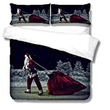 Bettwäsche Set Bettbezug aus Polyester-Baumwolle für Erwachsene und Kinder 240x220cm Bettbezug mit Weihnachtsmann + 2 Kissenbezüge,