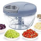 520 ml Handzerkleinerer manuelle Küchenmaschine, Zugschnur zum Schneiden von Gemüse, Zwiebeln, Knoblauch, Nüssen, Tomaten in Sekunden, gebogene Edelstahlkling