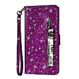 Artfeel Reißverschluss Brieftasche Hülle für Samsung Galaxy Note 8, Bling Glitzer Leder Handyhülle mit Kartenhalter,Flip Magnetverschluss Stand Schutzhülle mit Tasche und Handschlaufe-L