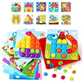 AMOSTING Mosaik Steckspiel, Steckspiel Kinder für 2, 3, 4 Jahre, Bunte Zuordnungsspiel Steckmosaik Vorschulspiel für Jungen Mädchen - 10 Karten und 46 Steckp