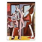 LYFWIN Pablo Picasso Vintage Poster & Drucke Klassische Wandkunst Moderne Spanische Abstrakte Leinwand Malerei Bild FüR Wohnzimmer Wanddekor 60x80cmx1 Kein R