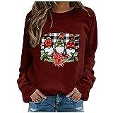 Eaylis Damen Lässige Weihnachtsdruck Pullover Sweatshirts Langarm Sweatshirts, Freizeit Langarmshirt Pullover Teddy-Fleece Plüsch Kapuzenpullover Pulli Streetwear Langarm Sweatshirt H