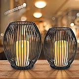 innislink Kerzenständer 2er Set, Metall Kerzenhalter Oval Kerzenleuchter Windlicht Schwarz Vintage Kerzen Ständer Teelichthalter für Deko Wohnzimmer Tischdeko Weihnachts Hochzeit -14 x 15cm, 16 x 18