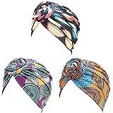 Malaxlx 3 Stücke Afrikanisches Muster Turban für Damen Kopftuch Vorgebundene Haube Kopfbedeckung Knoten Mütze Kappe H