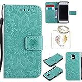 für Samsung Galaxy S5 Mini Geprägte Muster Handy PU Leder Silikon Schutzhülle Handy case Book Style Portemonnaie Design für Samsung GalaxyS5 Mini + Schlüsselanhänger(/*18) (1)