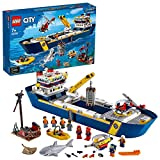 LEGO 60266 City Meeresforschungsschiff, schwimmendes Spielzeugboot, Tiefsee-Unterwasserset, Tauchabenteuer fü