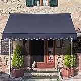3 x 1,15 m Klemmmarkise - Terrassenmarkise, einziehbarer Sonnenschutz, Wasser / UV / hitze / Wind / staubabweisend mit manueller Kurbel, Tür & Fensterschutz für Innenhof Balkon Geschäft R