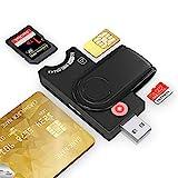 4-in-1 Ausweislesegerät, SIMkarten adapter, SDHC/SDXC/SD/Micro SD Kartenleser, Smartcard Reader für DOD Military USB Common Access CAC/SIM/ID/IC Bank/Chip-Karte(E-Tax),Kompatibel Windows/Vista/Mac OS
