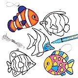 """Baker Ross AG240 Suncatcher-Anhänger """"Tropische Fische"""" mit Buntglas-Effekt für Kinder zum Bemalen und Aufhängen (6 Stück)"""
