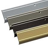 Stufenkantenprofil Integral   L-Form   Vorgebohrt oder Selbstklebend   Inkl. Montagematerial   Aluminium Treppenkantenprofil in 3 Längen & 4 Farben (134 x 3,5 x 3 cm   Vorgebohrt, Silber)