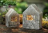 """Windlicht """"Haus"""" im Beton-Style, 2er Set, aus Zement, 15 & 19 cm hoch, rustikale Betondeko, Teelichthalter, Tischw"""