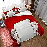Bettwäsche 260x240cm 3-teiliger Bettbezug mit Weihnachtsmann, Weihnachten+ 2 Kissenbezüge,Super Weich Flauschige M