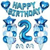 Bluelves Geburtstagsdeko Junge 2 Jahr,2 Jahr Dekoration Blau,folienballon 2,Luftballon 2 Geburtstag,Ballon 2 Geburtstag,2 Geburtstag Deko,Blau 2 deko Junge Geburtstag,Geburtstag Deko Junge 2 J