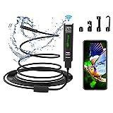 Yaasier Endoskopkamera WiFi USB Endoskop Inspektionskamera 8mm Halbsteife Kabel 2.0 Megapixels 1200P HD IP68 Wasserdicht mit Licht für für Android,IOS,iPhone,Samsung,Windows,Laptop (Dark)