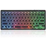 Rii Bluetooth Tastatur beleuchtet, Tragbare Laptop Tastatur mit Farbige Hintergrundbeleuchtung für iOS Android and Windows Tablet PC Laptop Notebook MacBook. (QWERTZ Deutsche Layout, schwarz)