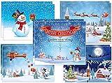 10 lustige Weihnachtskarten für Familien mit Kindern - 5 verschiedene Schneemann-Motive x 2 St, liebevoll g