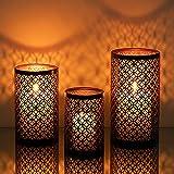 Romadedi Kerzenhalter Metall Teelichthalter Schwarz & Gold - 3er Set Kerzenständer für Teelichter Kerzen Orientalisches Aushöhlen Windlicht Vintage Wohnzimmer Tischdeko Innen Außen Deko 20/16/13