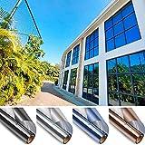Schutzfolie Fenster Selbstklebend Fensterfolie Innen Fenster Sonnenschutzfolie für WäRmeisolierung für WäRmeisolierung Anti-Uv für Fenster AußEn Und Innen BüRo Und Haus 99% Uv-Schutz,Silver,60x500