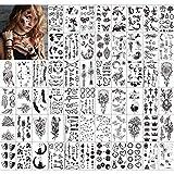 Qpout Temporäre Tattoos für Erwachsene Frauen Männer Kinder (60 Blatt), wasserdichte schwarze Tattoos Tribal Gesicht Arm Ärmel Hals Handgelenk Tattoos Totem Blume Schmetterling H