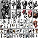 Yazhiji 56 Blatt Temporäre Tattoos Aufkleber 11 Blatt Halbarm Schulter Tattoos für Männer oder Frauen mit 45 Blatt Tiny Fake T