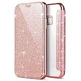 PHEZEN Schutzhülle für Samsung Galaxy S6 Edge, Glitzer, glitzernd, glänzendes PU-Leder, Klapphülle, Kartenhalter, börse, Rotg