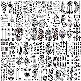 LAROI 66 Blätter Klein Schwarz Temporäre Tattoos Frauen Männer Fake Tattoo Aufkleber Gesicht Hals Arm Kinder Tattoo Temporär Blume Stern Tattoo Kits Jungen Mädchen Tattoos Zum Aufkleben Auf Die H