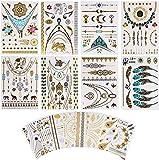 Makerfire 16 Stück Metallic Temporäre Tattoos, 240+ Designs Temp Tattoos Aufkleber, für Frauen & Mädchen - Arrows Federn Armbänder Handgelenk & Arm Bands (Gold Silber Schwarz)