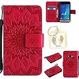 für Samsung J1 (2016) J120 Geprägte Muster Handy PU Leder Silikon Schutzhülle Handy case Book Style Portemonnaie Design für Samsung Galaxy J1 (2016) J120 + Schlüsselanhänger(/*13) (6)
