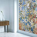 Milchglasfolie Abstrakte Retro-Blumen Statische Fensterfolien Anti-UV Folie Für Zuhause Badzimmer oder Büro,Matt,mit sehr hohem Sichtschutz,Blau(60x150cm)