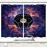 Küchenvorhänge,Foto des Mondes und der Heiligen Geometr,Fensterbehandlungssets mit Metallhaken Fenstervorhänge 2 Panels Sets für Home Cafe Decor 55 'X 39'