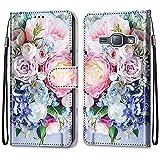 nancencen Kompatibel mit Samsung Galaxy SM-J120 / J1 2016 Handyhülle, Flip Cover Schutzhülle (Anti-Fall) Kartenschlitz Portemonnaie Stil - Pinke B