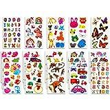 Habett Tattoo Kinder & Kleinkinder, 230+ Tattoo Aufkleber Set, Niedliche Verschiedene Set Buchstab en, Tier, Obst, Zahlen, Schmetterlinge, Einhorn, Dinosaurier und vieles mehr (20 Bogen)