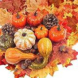 Herbstdeko Kürbis, Mini Kürbisse Deko Set Halloween Künstliche Kürbisse ZierküRbis Deko Herbst Tisch, Pumpkin Decor Herbstdeko Blätter für Thanksgiving Party Dek