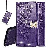 IMEIKONST Case für S20 Ultra Hülle Bling Diamant Geprägt PU Leder Mit Magnetisch Brieftasche Flip Ständer Schutzhülle Handyhülle für Samsung Galaxy S20 Ultra Cystal Butterfly Purple SD
