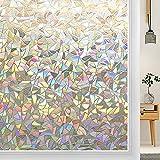 3D-Glas-Abziehbilder, Fenster-Sichtschutzfolie mit Regenbogeneffekt, zur Wärmedämmung von Fenstern und Türen und UV-Schutzfolie B 40x300