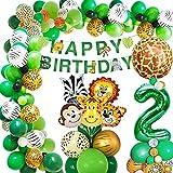 Dschungel Geburtstag Dekoration 2 jahr, AcnA Geburtstagsdeko Jungen 2 jahr,Kindergeburtstag deko Safari Happy Birthday Dekoration Banner Dschungel Luftballons Wild One Deko Junge 2. Geburtstag Mehrweg