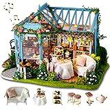 GuDoQi DIY Puppenhaus Miniatur Kit, 3D Hölzernes Puppenhaus Bausatz mit Möbeln und Musik, Handgefertigte Modellbausätze für Frauen und Sammler, Tee Garten Shop