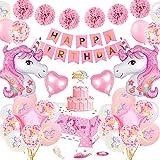 Unicorn Birthday Party Dekoration Mädchen, TOLOYE Rosa Geburtstag Dekoration Set mit Banner Latex Confetti 3D Einhornfolie Ballons Pompons, Pastell Einhorn Party Supplies für Baby G