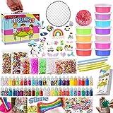 essenson DIY Slime kit Schleim Selber Machen mit 12 Farben Crystal Slime, Glitter, Charms, Fruit Slices, Kunsthandwerk für Kinder 6-12 Jahren mädchen Geschenk